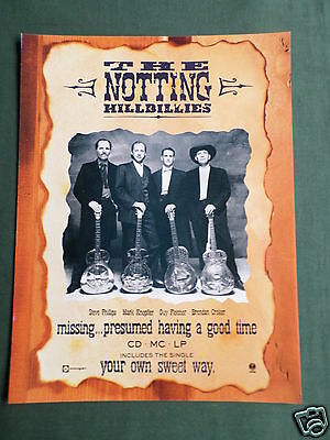 The Notting Hillbillies - Magazine Clipping / Cutting- 1 Page Advert