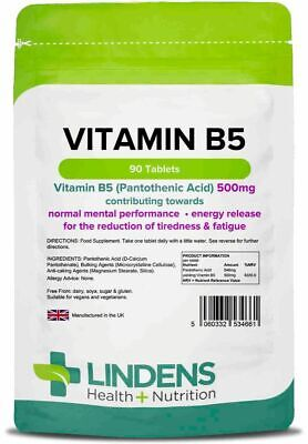 Vitamin B5 (Pantothenic Acid) 500mg x 90 Tablets; Tiredness Fatigue Lindens