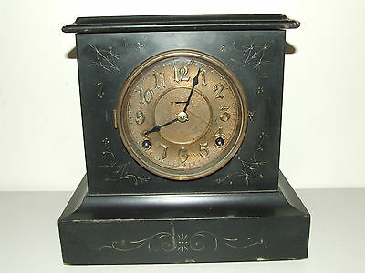 "Antique 1879 INGRAHAM Black Ebony Victorian ""Wizard"" Parlor Mantel Shelf Clock"