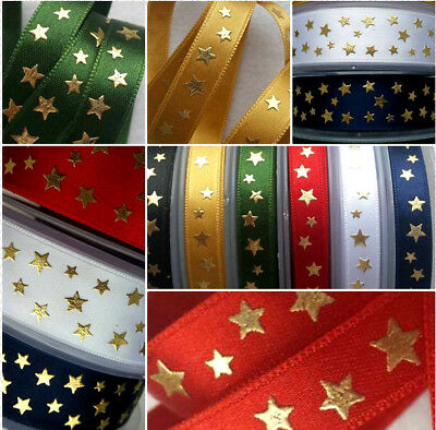 24mm  1m GOLD & SILVER METALLIC STARS & SATIN,LUXURY RIBBON,GIFT,CRAFT,CHRISTMAS