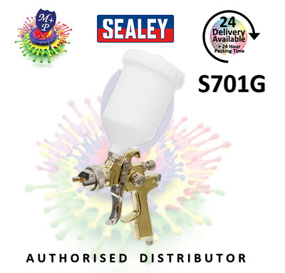Sealey S701G Deluxe Gold Gravity Feed Air Spray Gun 1.4mm Water/Oil Based Paint