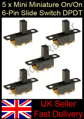 5 x Mini / Sub Miniature On/On 6-Pin Slide Switch DPDT Electronics Projects