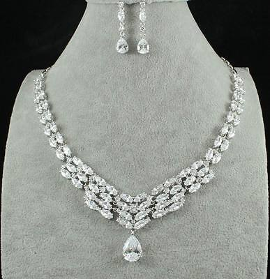 Impressive Cz Cubic Zirconia Crystal Necklace Earrings Set Wedding Party Cz2206