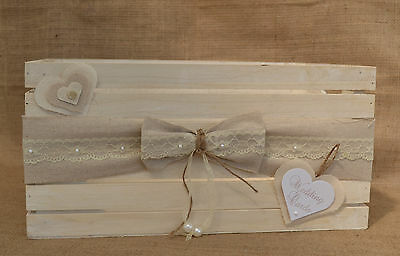 Shabby chic country wooden wedding card crate post box hessian hearts & lace