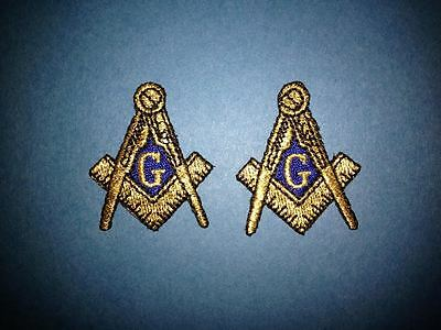 2 Lot Masonic Freemasons Square & Compass Sew Iron On Hat Jacket Patches Crest D