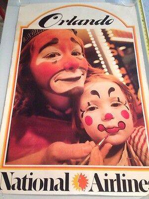 National Airlines / Vintage Poster / Orlando / Clowns