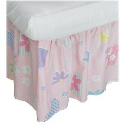 Freckles  Light Pink with Hearts & Flowers Baby Crib Bed Skirt, NIP