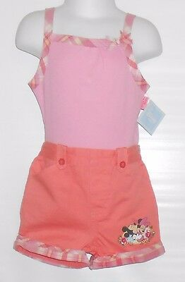 Disney Mickey & Minnie Mouse Infant Girls Three (3) Piece Short Set Pink 24M NWT