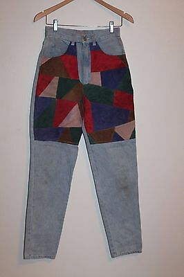 Vtg 70s High Waist Cowgirl Western Suede Leather Patched Jeans Boho Hippie Sz 8