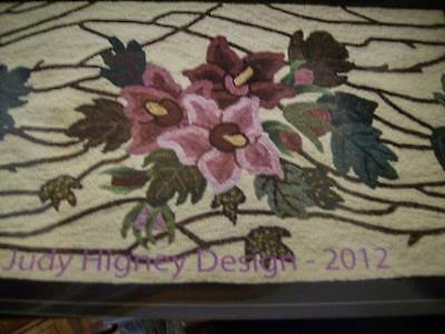 Hibiscus On Trellis Linen Rug Hooking Canvas 36x22 Inches Judy Higney Design