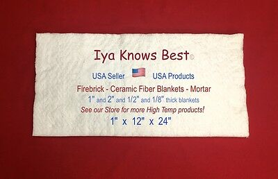 "Ceramic Fiber Blanket 2600F 8# Thermal High Temp Insulation 1""x12""x24"" USA Made"