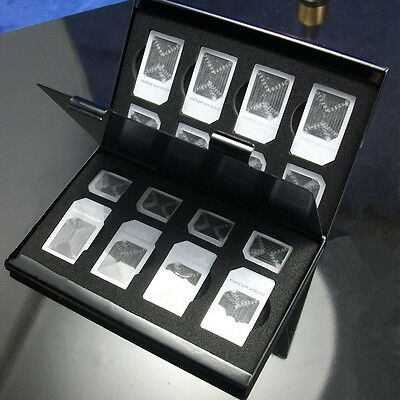 New 15in1 Aluminum SIM Micro Nano SIM Card Pin Storage Box Case Holder Protector