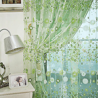 Floral Flower Sheer Curtain Panel Door Window Balcony Tulle Voile Room Divider