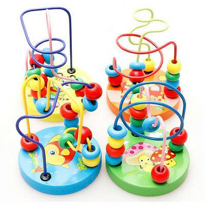 1PC Toddler Children Kids Child Baby  Wooden Mini Around Beads Wire Maze Toys