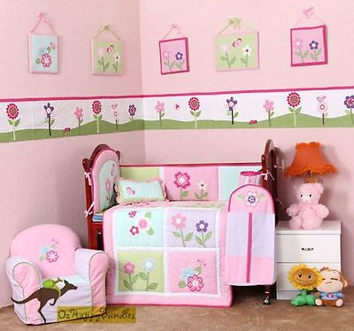 Baby Girls 5 Pieces Pink Flowers Cotton Nursery Bedding Crib Cot Sets