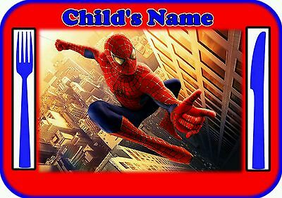 Childrens/Kids A4 Spiderman Dinner Mat /Place Mat. Personalised