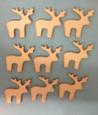 10 Natural Wooden Miniature Christmas Reindeer Card Making Craft Embellishments
