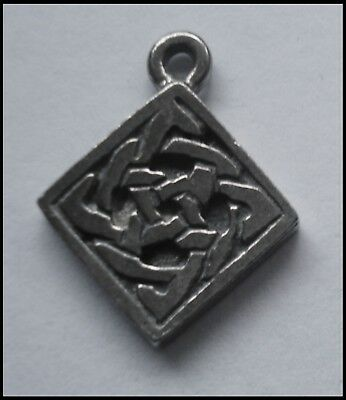 PEWTER CHARM #1407 CELTIC SQUARE (15mm x 19mm) 1 bail double sided
