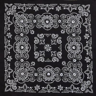 "New 27"" x 27"" Oversized Black Paisley Bandana Handkerchief Scarf 100% Cotton"