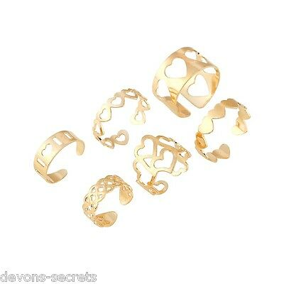 6 x joblot girls ladies gold jewellery adjustable one size toe ring mixed TL2