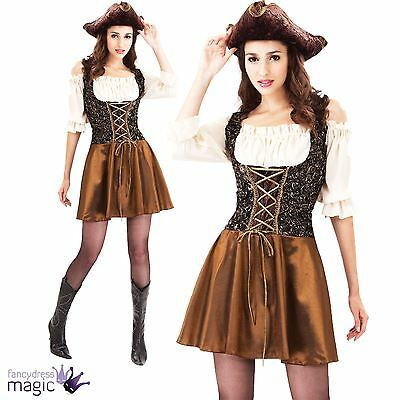 Ladies Womens Sexy Gold Rose Shipmate Pirate Fancy Dress Costume Outfit 10 12 14