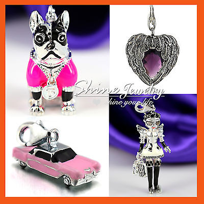 925 Silver Sp Crystal Clip On Charms Pendant For Bracelet Necklace Girl Kid Gift