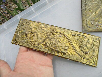 Antique Brass Finger Plate Push Door Handle Art Nouveau Architectural 1906 Old