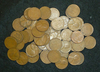 USA Wheat Cents Bulk Lots Of 50 Circulated Coins (Issued between 1909-1958)