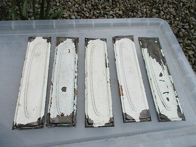 Vintage Brass Finger Plates Push Door Handles Old x5 PAINTED