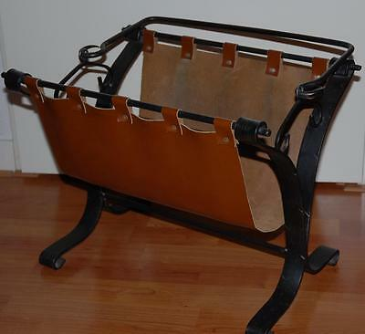 Vintage wrought Iron / Leather Magazine / Newspaper Stand
