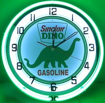 "18"" Vintage SINCLAIR Metal Sign Double Neon Wall Clock Dino Oil Gas Pump Station"
