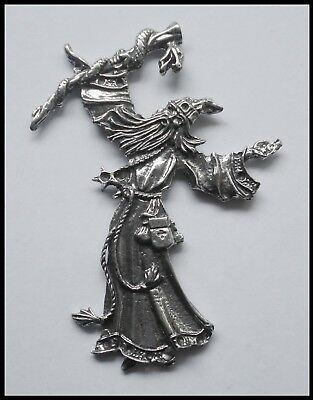 PEWTER CHARM #1418 LARGE WIZARD (78mm x 58mm) no bail/hole