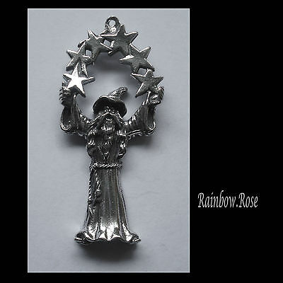 PEWTER CHARM #441 WIZARD with STARS (52mm x 24mm) 1 bail
