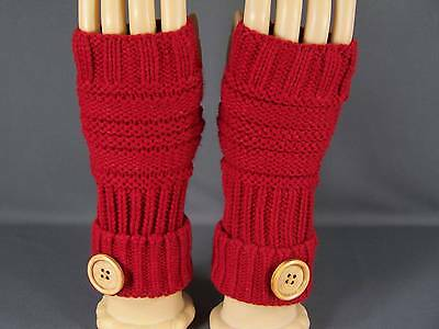 Red fingerless gloves texting open thumb button knit arm warmer warmers