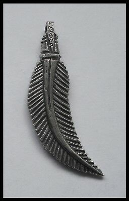 PEWTER CHARM #1448 CURVED FEATHER (22mm x 49mm) 1 bail