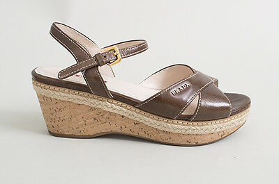 480072e5 PRADA SPORT BROWN Leather Espadrille Cork Wedge Sandals - Size 37