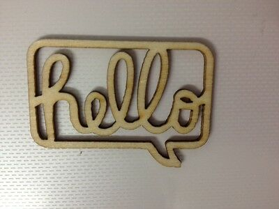 5 Natural Wooden Hello Speech Bubble Card Making Craft Embellishments Clearance