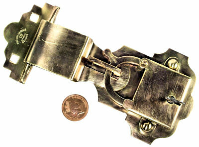 1896 Rare Brass Patent Trunk Lock with Patent Details and Key - Victorian