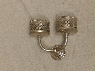 Antique Nickel Brass Double Beaded Cup Holder Old Vtg Silvers Fixture 688-16