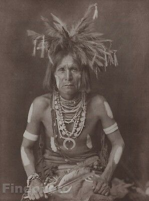 c.1900/72 Photo Gravure NATIVE AMERICAN INDIAN Snake Priest EDWARD CURTIS 11x14
