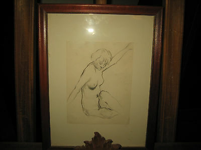 """Lawton Parker Drawing """" Nude Stretching Both Arms """""""
