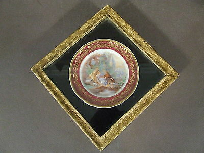 Vintage Framed Limoges Miniature Collector Plate With Gold Trim
