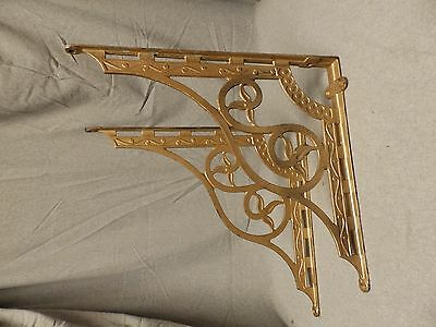 Large Antique Gold Cast Iron Shelf Bracket Supports Old Vintage Hardware 696-16