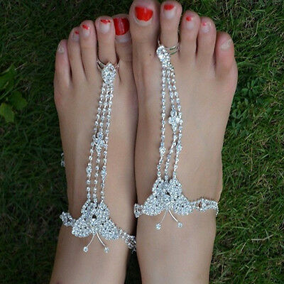 Usa 1pair Crystal Barefoot Sandals Foot Jewelry Ankle Bracelet Toe Ring Beach Fashion Jewelry