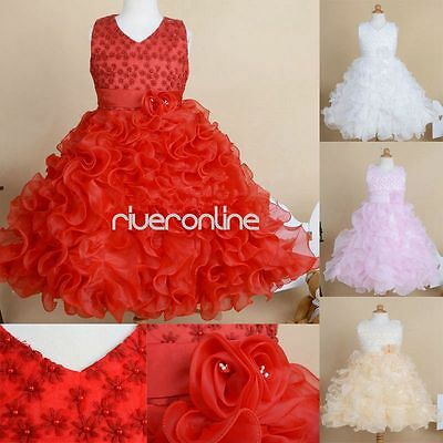 Communion Flower Girl Princess Pageant Wedding Party Birthday Formal Gown Dress