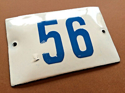 VINTAGE ENAMEL SIGN TIN PORCELAIN HOUSE NUMBER 56 DOOR GATE WHITE BLUE 1950's