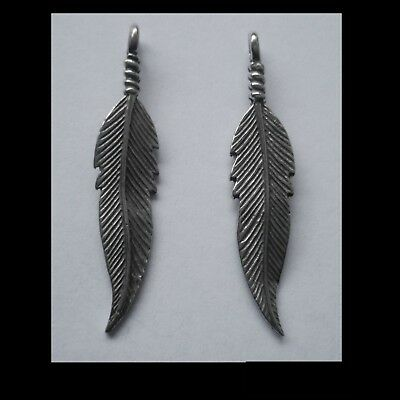 PEWTER CHARM #2206 FEATHER x 2 (39mm x 7mm) 1 bail
