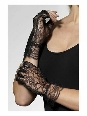 Black gloves costume 80s madonna goth Victorian Burlesque lace fingerless 98251