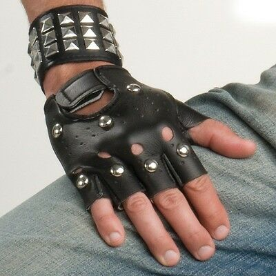 Stud studded fingerless 80s costume dance biker rocker punk black gloves 25189