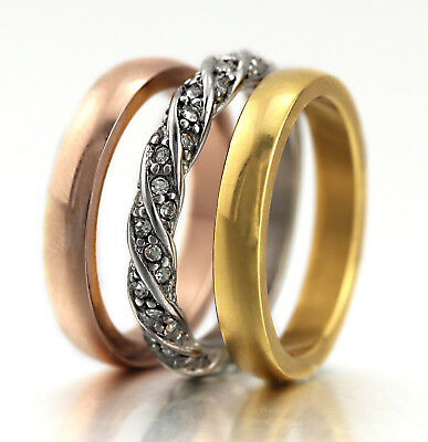 Womens Gold Gf Stainless Steel Lab Diamond Eternity Wedding Stackable Band Rings